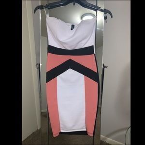 Pink, black and white strapless dress